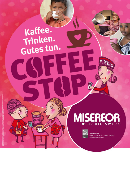 Plakat Coffee Stop Spendenaktion